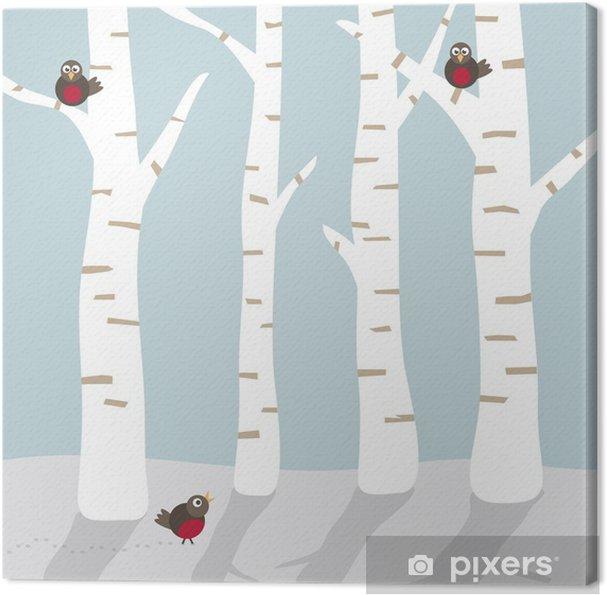 Tableau sur toile Paysage d'hiver avec des oiseaux - Saisons