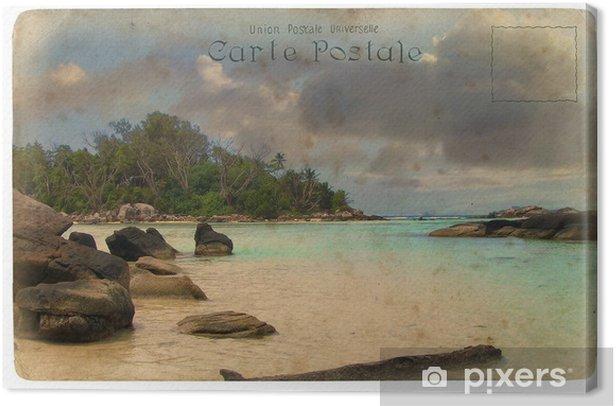 Tableau sur toile Paysage de l'océan Indien, les Seychelles. Carte postale ancienne. - Vacances