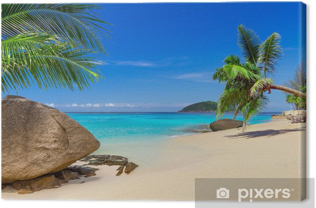 Tableau sur toile Paysage de plage tropicale en Thaïlande - Palmiers