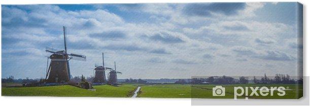Tableau sur toile Paysage hollandais typique, notamment des moulins à vent - Campagne