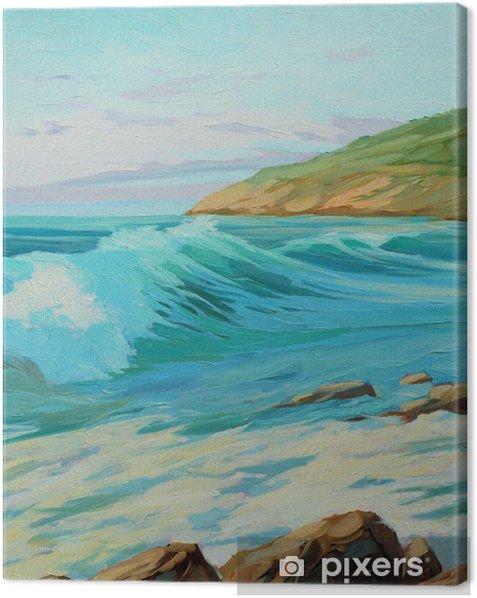 Tableau sur toile Paysage méditerranéen avec la vague, illustration turquoise, peinture - Art et création