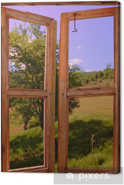 Tableau sur toile Paysage vu à travers une fenêtre - Thèmes