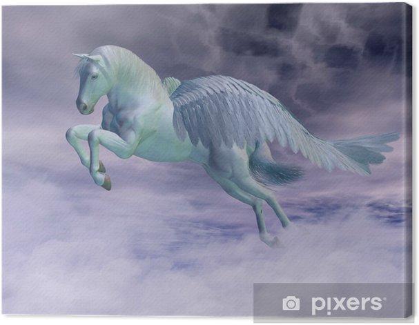 Tableau sur toile Pegasus galopant par des nuages de tempête - Animaux imaginaires