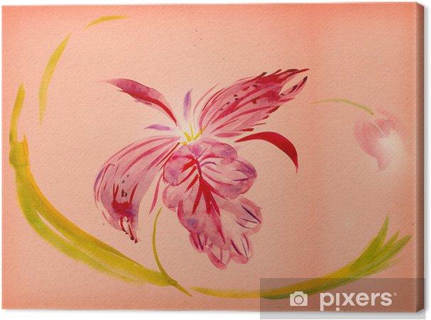 Tableau sur toile Peinture à l'aquarelle - orchidée - Fleurs
