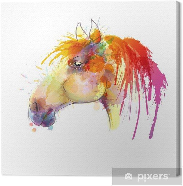 Tableau sur toile Peinture à l'aquarelle Tête de cheval - Autres Autres