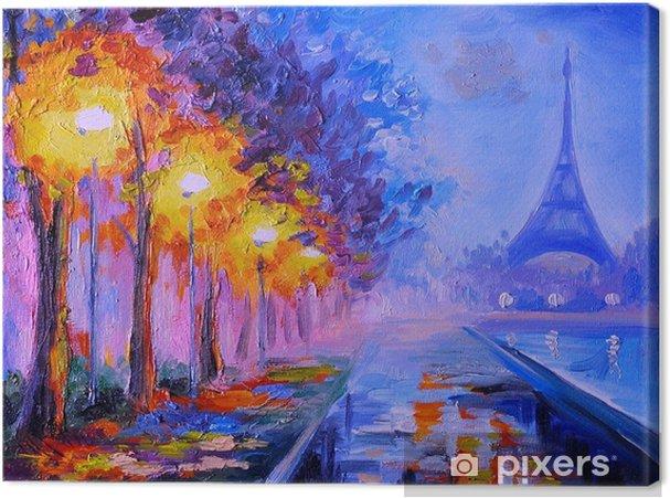 Tableau Sur Toile Peinture A L Huile De La Tour Eiffel France