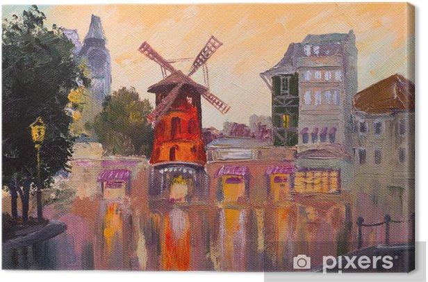 Tableau sur toile Peinture à l'huile paysage - Moulin rouge, Paris, France - Art et création