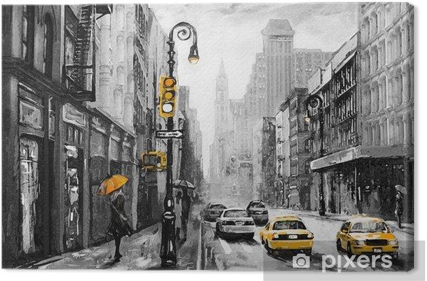 Tableau sur toile Peinture à l'huile sur toile, vue sur la rue de new york, homme et femme, taxi jaune, œuvres d'art moderne, ville américaine, illustration new york - Voyages