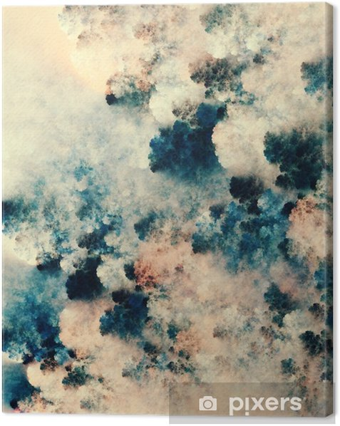 Tableau sur toile Peinture abstraite numérique de textures sombres qui ressemblent à des nuages de fantaisie sur un fond clair - Ressources graphiques