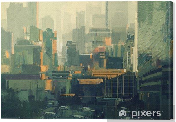 Tableau sur toile Peinture de paysage urbain des gratte-ciels urbains au coucher du soleil - Bâtiments et architecture