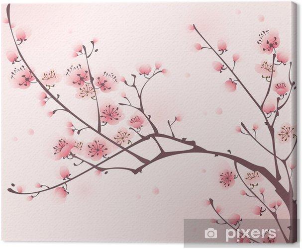 Tableau sur toile Peinture de style oriental, fleur de cerisier au printemps - Styles