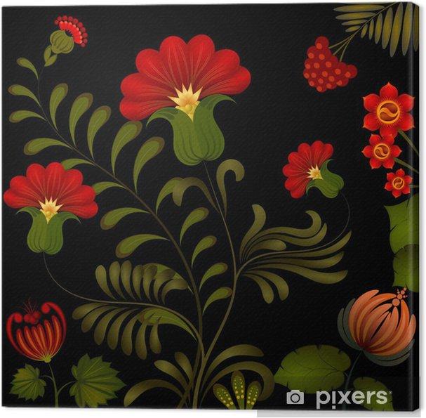 Tableau sur toile Peinture Petrikov. Ornamen floraux nationaux traditionnels ukrainiens - Plantes