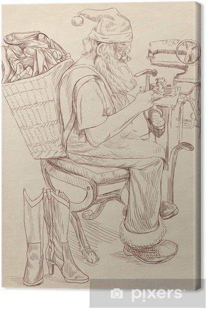 Tableau sur toile Père Noël comme cordonnier - taille (original) dessin plein de main - Fêtes internationales