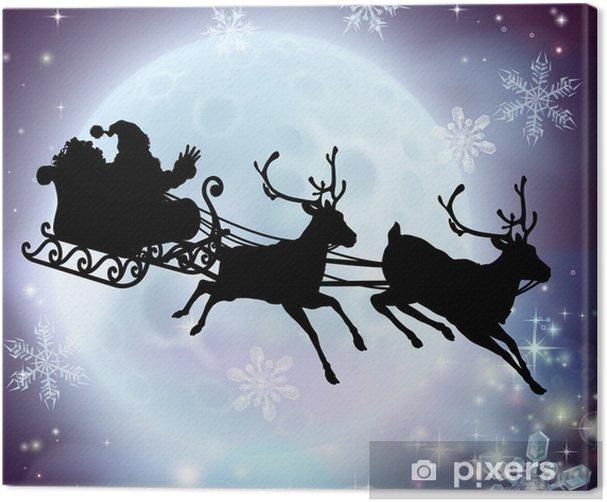 Santa Père Noël Traîneau Sledge Reindeer Tree Light Up DEL Toile photo