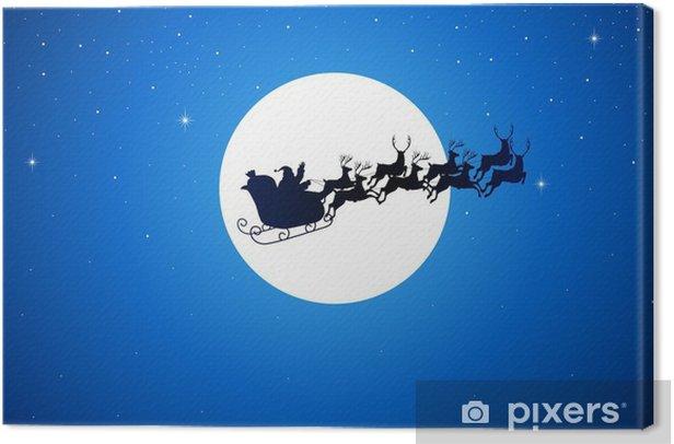 Tableau sur toile Père Noël monte son traîneau sur la lune - Thèmes