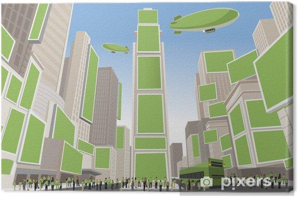 Tableau sur toile Personnes portant des vêtements verts à Times Square, Manhattan - Paysages urbains