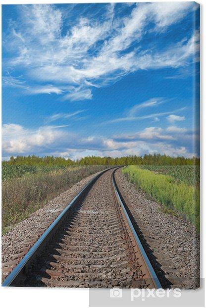 Tableau sur toile Perspective des chemins de fer avec l'herbe verte sur les côtés - Chemin de fer