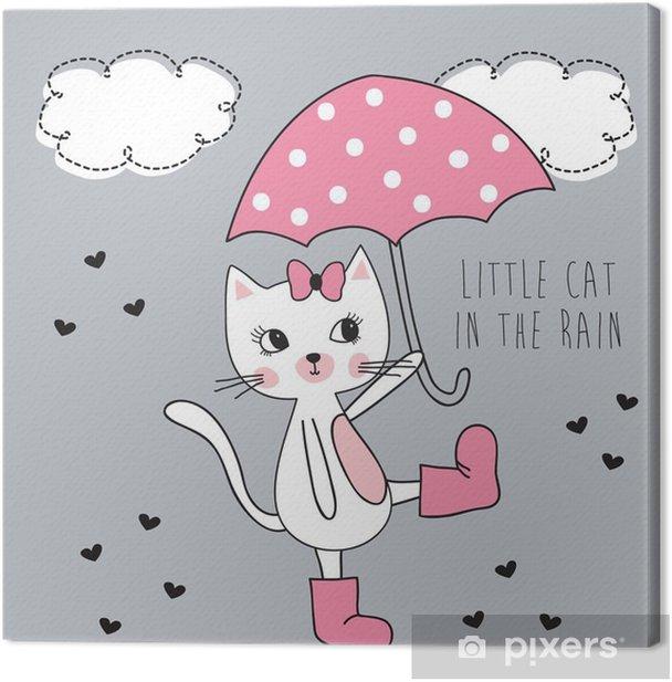 Tableau sur toile Petit chat sous la pluie illustration vectorielle - Animaux