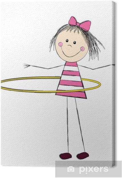 Tableau sur toile Petite fille mignonne avec cerceau - Enfants