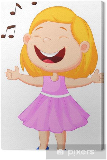 Tableau sur toile Petite fille qui chante - Sticker mural