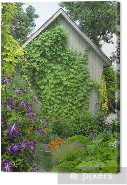 Tableau Sur Toile Petite Maison Dans Un Jardin Fleuri Pixers
