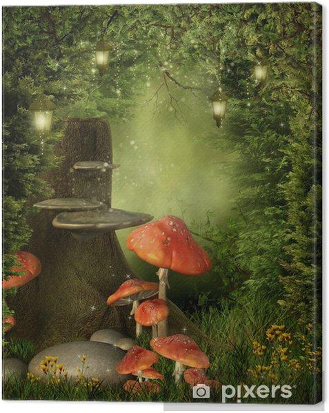 Tableau sur toile Pien drzewa z grzybami i lampionami - Autres