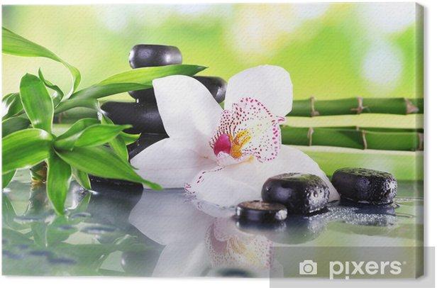 Tableau sur toile Pierres de Spa, des branches de bambou et orchidée blanche - Thèmes