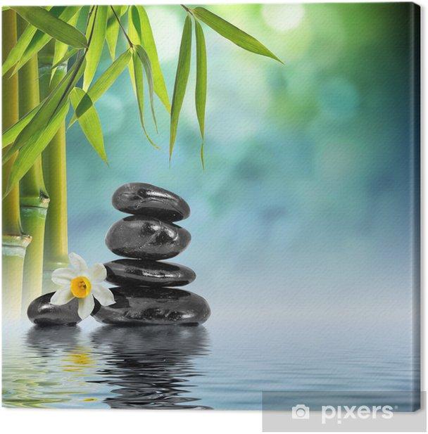 Tableau sur toile Pierres et de bambou sur l'eau avec le narcisse fleur - Thèmes