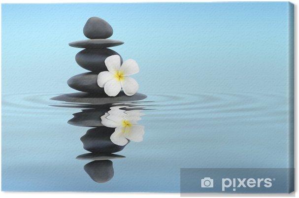 Tableau sur toile Pierres zen avec des frangipaniers - Religion