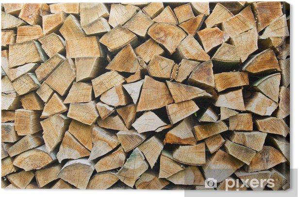 Tableau sur toile Pile de bois de chauffage - Saisons