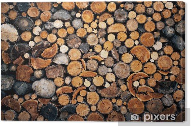 Tableau sur toile Pile de haché fond de bois de feu - Textures
