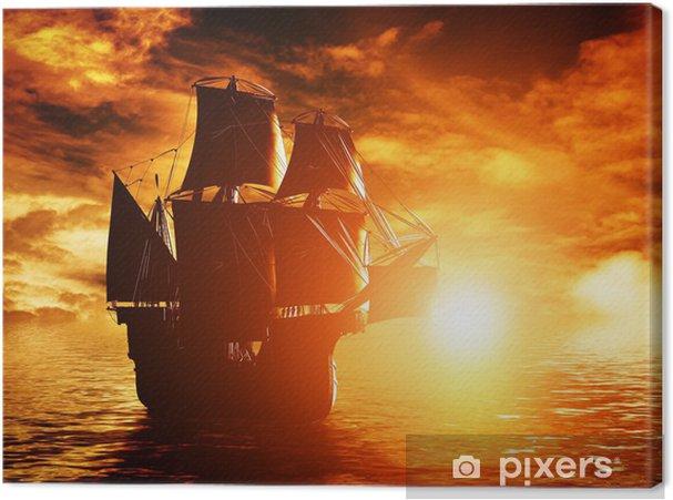 Tableau sur toile Pirate antique navire naviguant sur l'océan au coucher du soleil -