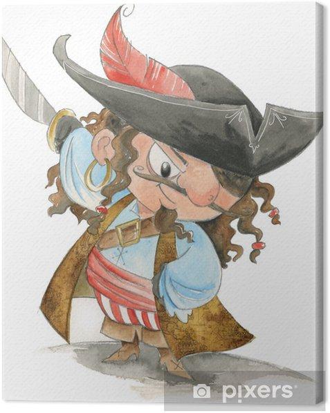 Tableau sur toile Pirate mignon avec l'épée et le chapeau - Au travail