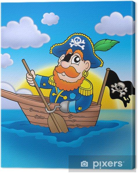Tableau sur toile Pirate sur le bateau avec le coucher du soleil - Autres