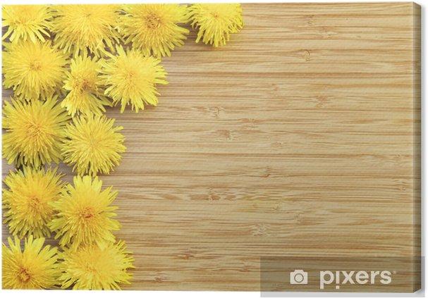Tableau sur toile Pissenlits sur bois avec copie espace - Saisons