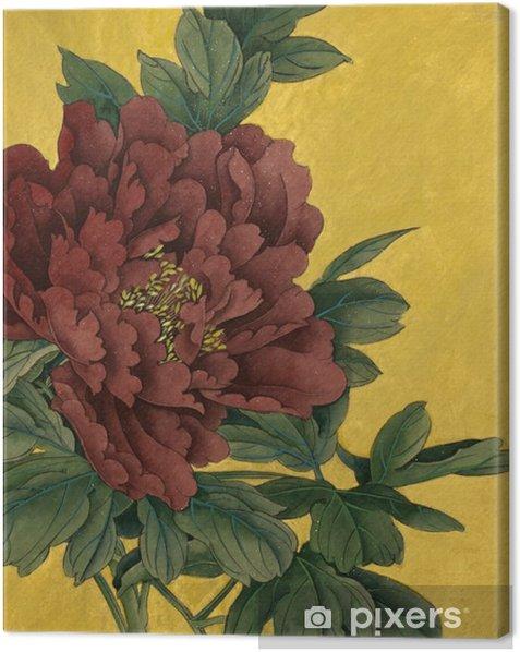 Tableau sur toile Pivoine fleur sur un fond d'or - Plantes et fleurs
