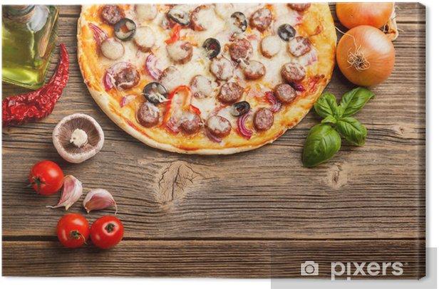 Tableau sur toile Pizza avec des ingrédients - Thèmes