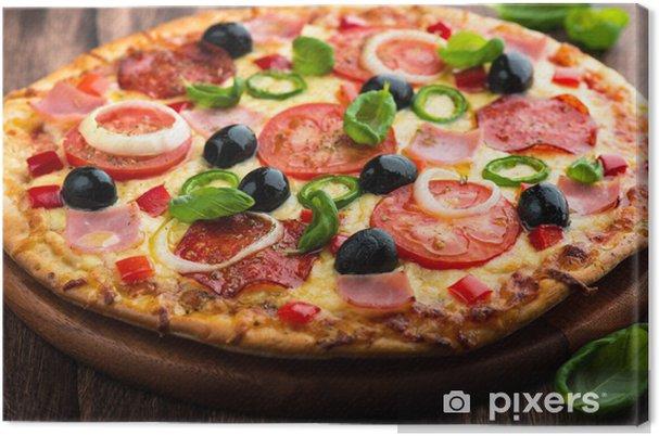 Tableau sur toile Pizza avec salami au poivre, la tomate et le Chili - Fast Food