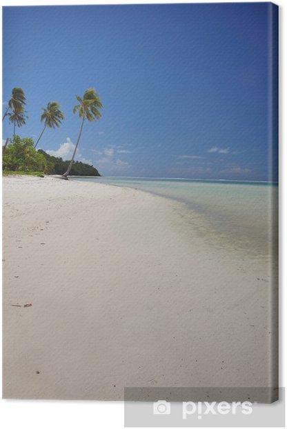 Tableau sur toile Plage de sable blanc avec des palmiers, Polynésie française - Océanie
