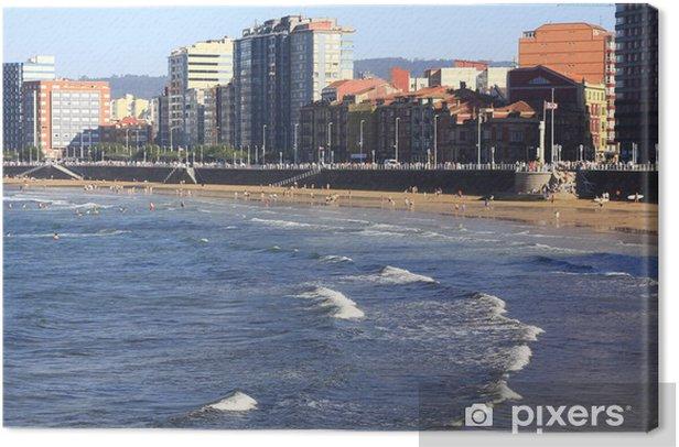 Tableau sur toile Plage de sable blanc dans la ville de Gijón, Espagne - Paysages urbains