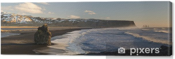 Tableau sur toile Plage de sable noir de Dyrholaey, Vik, Islande - Europe