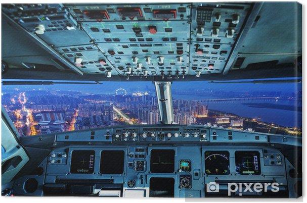 Tableau sur toile Plan cockpit et la ville de nuit - Paysages urbains