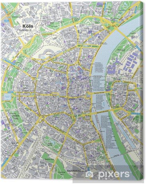 Tableau sur toile Plan de la ville de Cologne - Europe