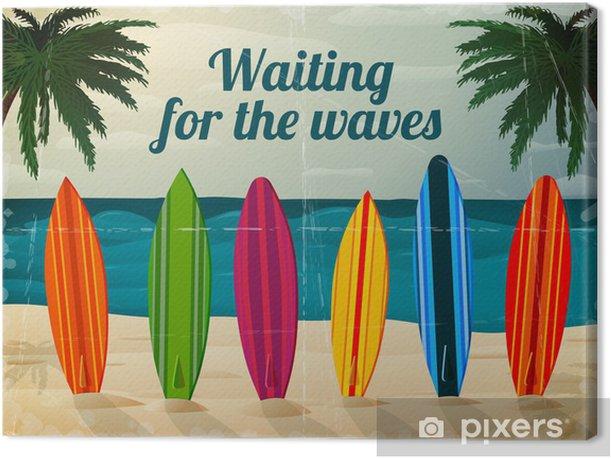Tableau sur toile Planches de surf de vacances sur la plage de l'océan - Styles