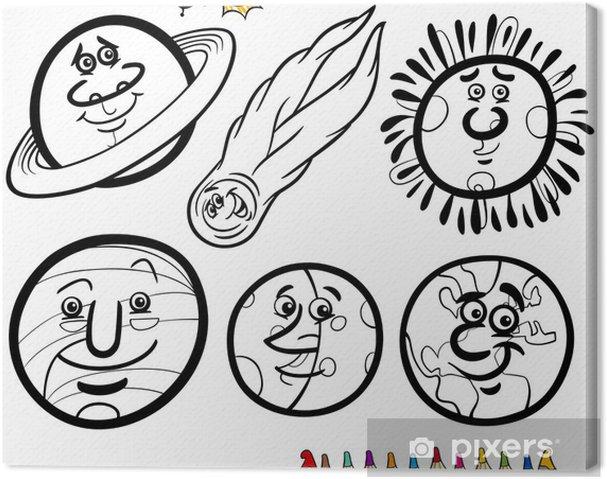 Tableau sur toile Planètes de dessin animé et coloriage Orbs - Espace
