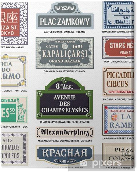 Tableau sur toile     plaque de rue Vecteur de monde le plus visité attraction touristique - Vacances