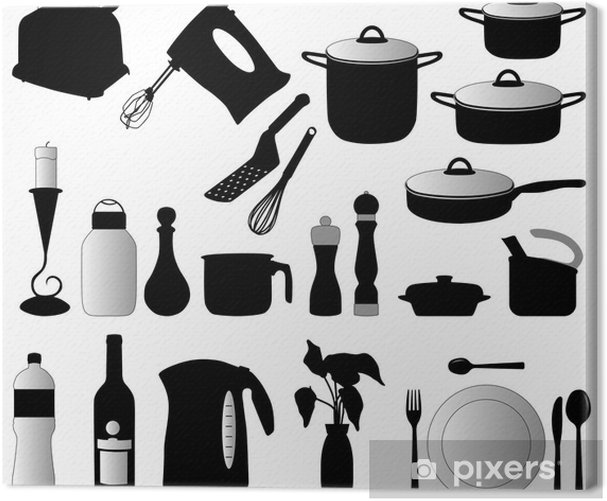 Tableau sur toile Plats, pan, mixeur et autres objets de cuisine silhouette vecteur - Sticker mural