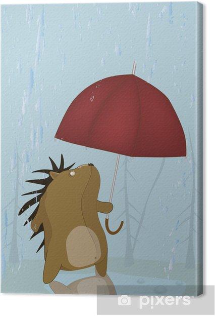 Tableau sur toile Pluie d'automne et triste hérisson - Mammifères