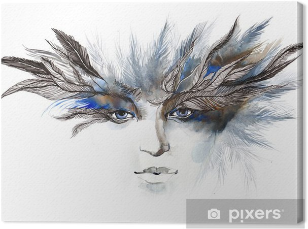 Tableau sur toile Plumes autour des yeux (série C) - Mode