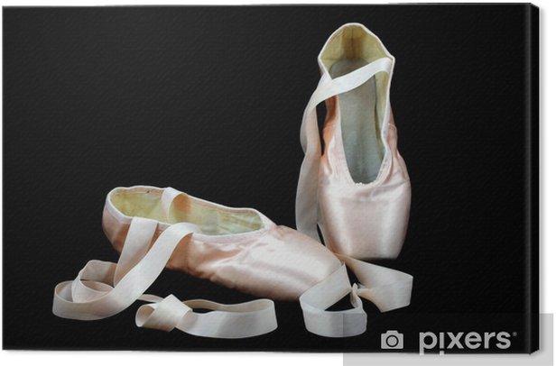 Tableau sur toile Pointe ballerines sur fond noir - Ballet